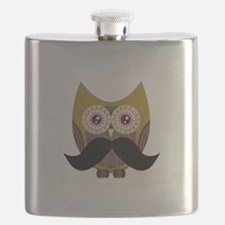 Golden Owl with Mustache Flask