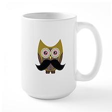Golden Owl with Mustache Mug