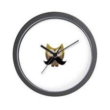 Golden Owl with Mustache Wall Clock