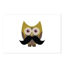 Golden Owl with Mustache Postcards (Package of 8)