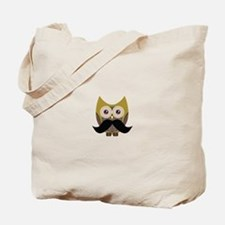 Golden Owl with Mustache Tote Bag