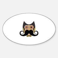 Dark owl with mustache Sticker (Oval)