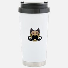 Dark owl with mustache Stainless Steel Travel Mug