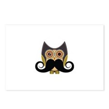 Dark owl with mustache Postcards (Package of 8)