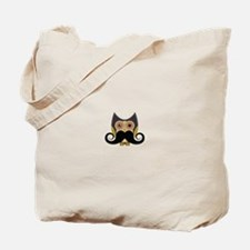 Dark owl with mustache Tote Bag