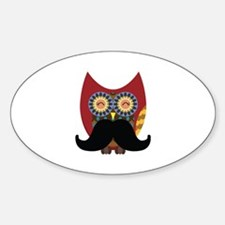 red owl with mustache Sticker (Oval)
