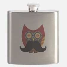 red owl with mustache Flask