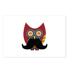 red owl with mustache Postcards (Package of 8)