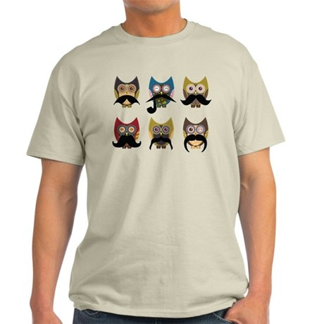 Cute owls with mustaches Light T-Shirt