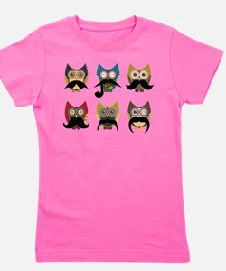 Cute owls with mustaches Girl's Tee