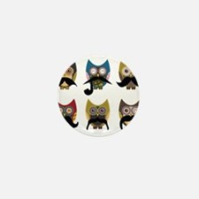 Cute owls with mustaches Mini Button