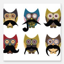 """Cute owls with mustaches Square Car Magnet 3"""" x 3"""""""