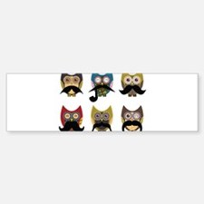 Cute owls with mustaches Bumper Bumper Sticker