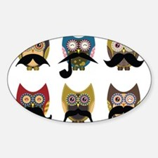 Cute owls with mustaches Sticker (Oval)