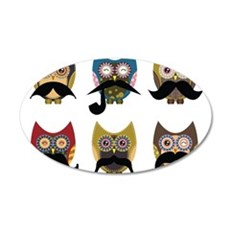 Cute owls with mustaches 35x21 Oval Wall Decal