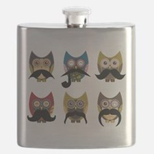 Cute owls with mustaches Flask