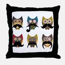 Cute owls with mustaches Throw Pillow
