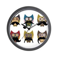 Cute owls with mustaches Wall Clock