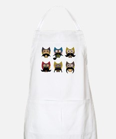 Cute owls with mustaches Apron