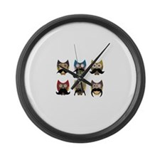 Cute owls with mustaches Large Wall Clock