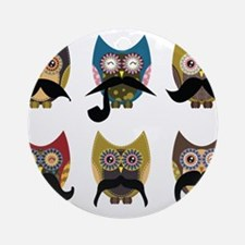 Cute owls with mustaches Ornament (Round)