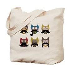 Cute owls with mustaches Tote Bag