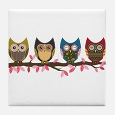 Owls on a branch Tile Coaster