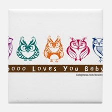 Whoo Loves you baby Owl Tile Coaster