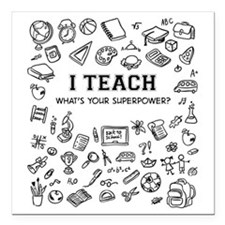 "Superhero Teacher Square Car Magnet 3"" x 3"""