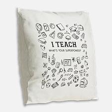 Superhero Teacher Burlap Throw Pillow