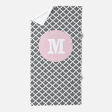 Taupe Pink Quatrefoil Monogram Beach Towel