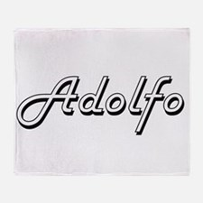 Adolfo Classic Style Name Throw Blanket