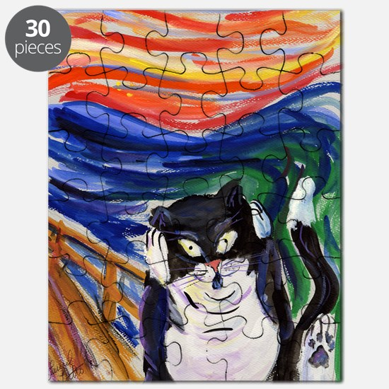 The Kitty Scream Art Tuxedo Cat Painting Puzzle
