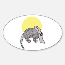 Cute Little Armadillo Oval Decal