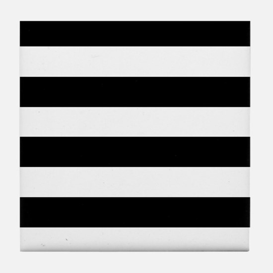 Black & White Stripes Tile Coaster