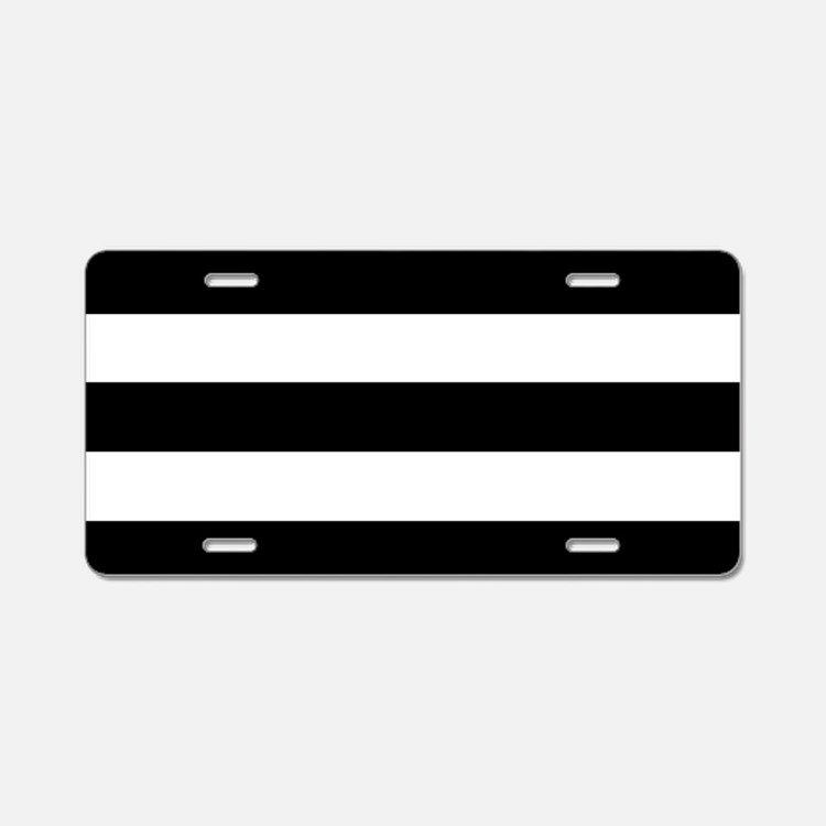 Black & White Stripes Aluminum License Plate