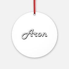 Aron Classic Style Name Ornament (Round)