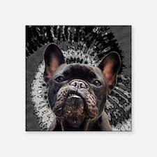 "Black Pug Square Sticker 3"" x 3"""