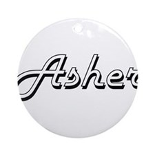 Asher Classic Style Name Ornament (Round)