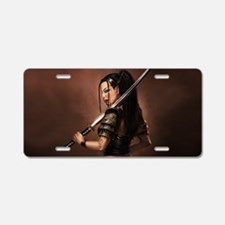Woman Assassin With Sword Aluminum License Plate