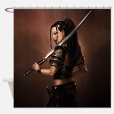 Woman Assassin With Sword Shower Curtain