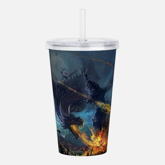 Spitting Fire Dragon Attack Acrylic Double-wall Tu