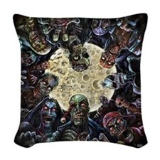 Zombies Full Moon Attack Woven Throw Pillow