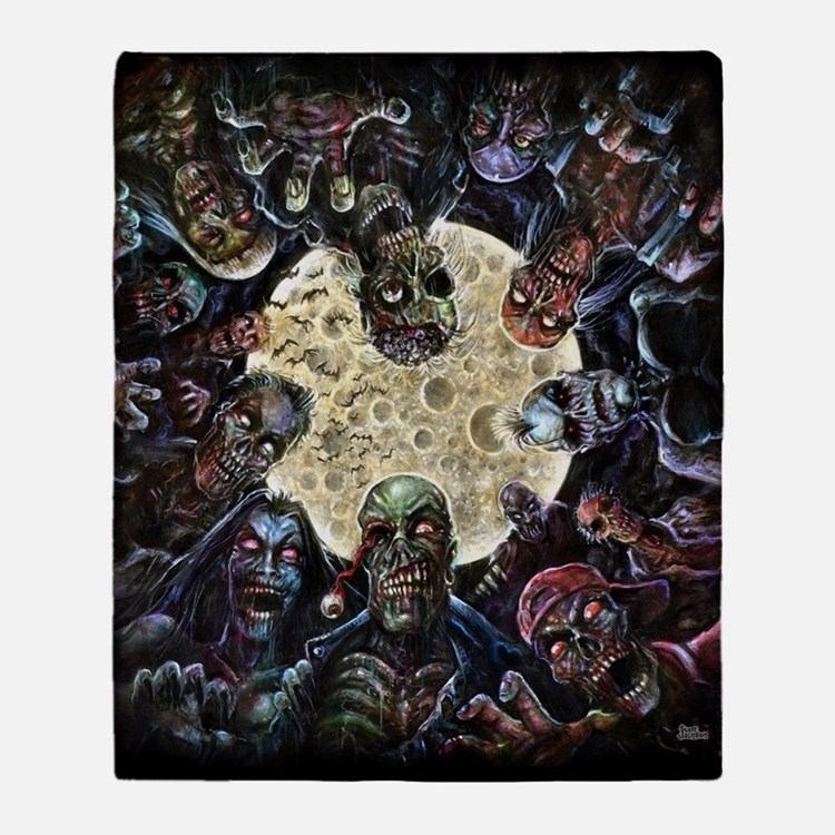 Zombies Full Moon Attack Throw Blanket