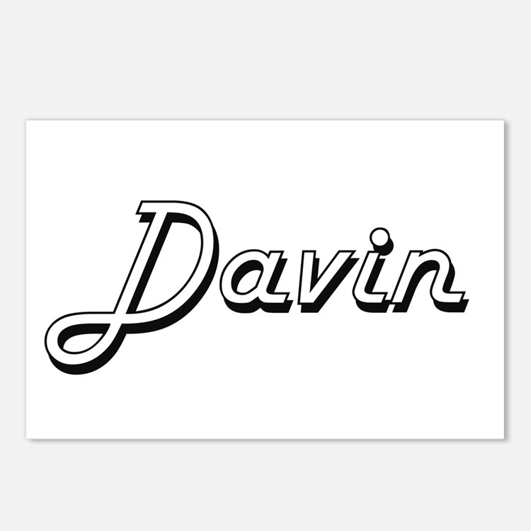 Davin Classic Style Name Postcards (Package of 8)