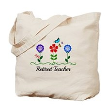 Retired Teacher, Flowers and Butterflies Tote Bag