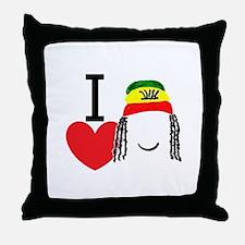 Heart Rasta Throw Pillow