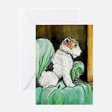 "Fox Terrier ""Waiting"" Greeting Card"