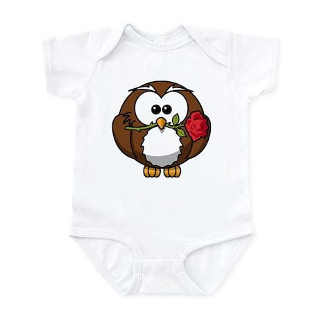 Cute Valentine Owl Rose Body Suit