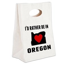 Id Rather Be In Oregon Canvas Lunch Tote